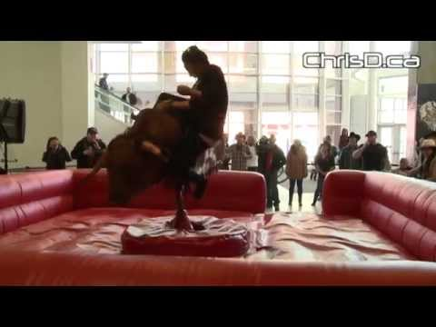 Media Compete in Bull Riding Challenge - April 11, 2014 - Winnipeg, Manitoba