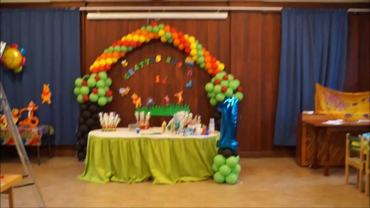 Decoracion con globos winnie the pooh youtube for Decoracion con globos