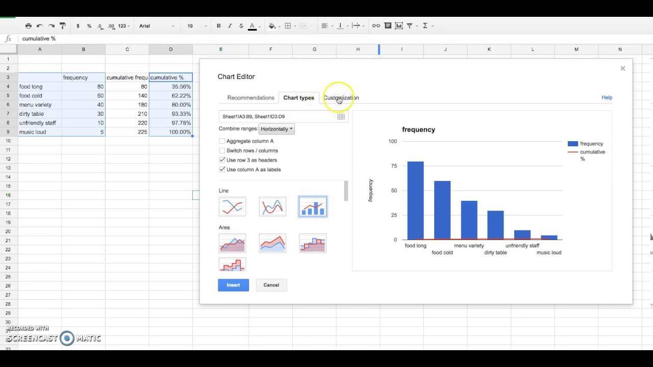 Create a pareto chart on google excel youtube create a pareto chart on google excel geenschuldenfo Images
