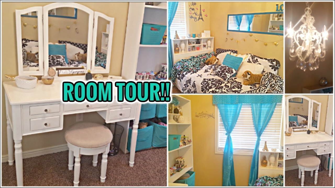 Room Tour 2017 Gold Black White Teal Tween Daughter S Bedroom Feat Songmics Vanity Set