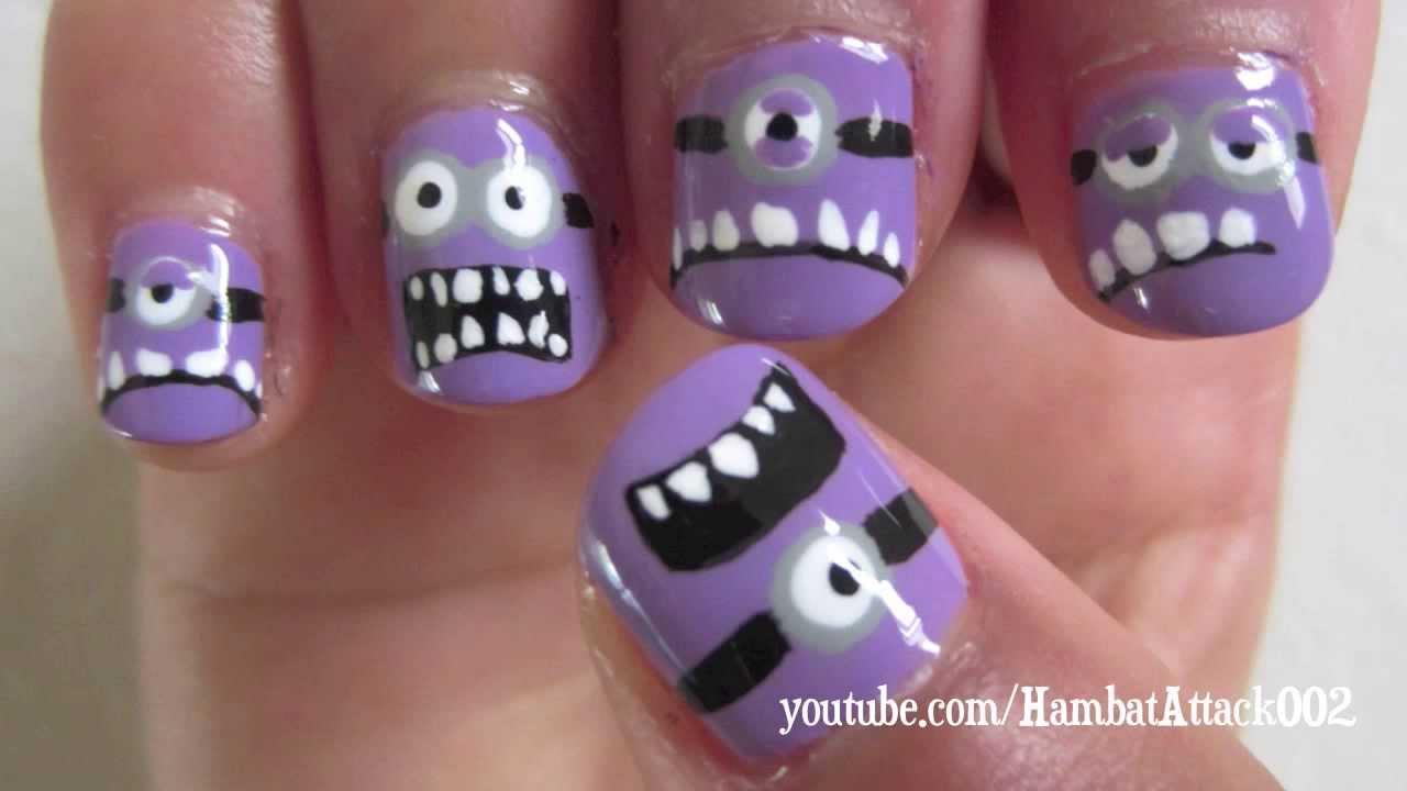 Despicable Me 2 Evil Purple Minions Nails - YouTube