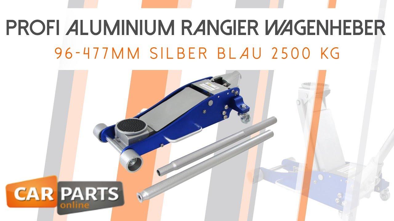 Carparts-Online 27901 Profi Alu Rangier Wagenheber hydraulisch 96-477mm silber blau 2500 kg