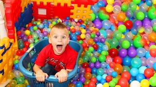 BALL PIT SLIDING DOWN THE STAIRS