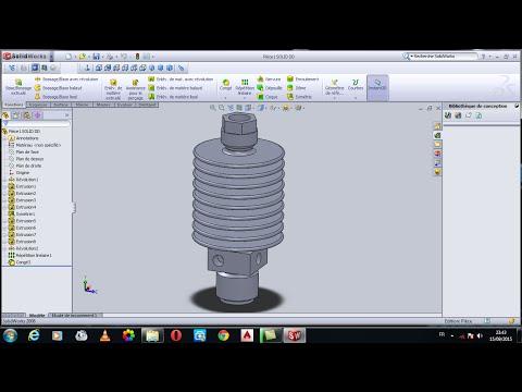 SolidWorks : dessin d'un DISSIPATEUR T / drawing a SINK T