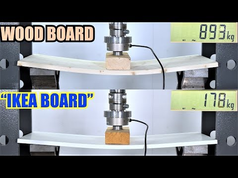 Ikea Board Vs. Real Wood! Which is Stronger? Hydraulic Press Test!