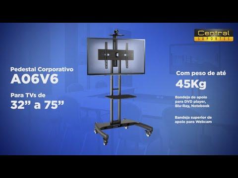 Suporte Pedestal Para TV A06V6 ELG - Rack De Chão Para TV Com Rodízios