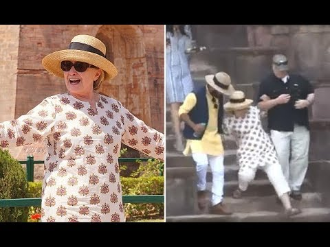 Watch Video : Hillary Clinton Nearly Falls Down Stairs Twice In India