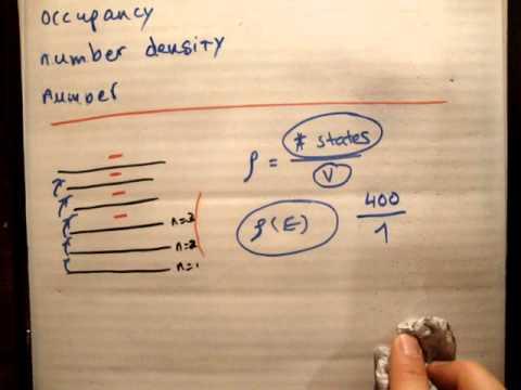 Quantum Statistics 12 a: Density of states, number density & occupancy