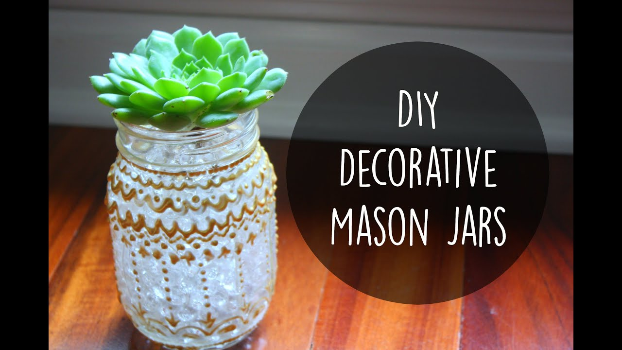diy room decor decorative mason jars with puffy paint