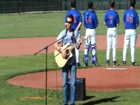 Jake Novak sings Star Spangled Banner at Childress High School baseball game