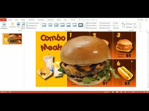 Use PowerPoint templates to create a digital menu board