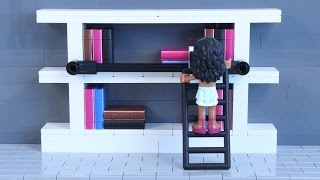 Lego Moc Speed Build: In-home Library Bookshelf W/ Rolling Ladder