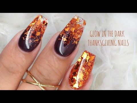 BOMB Glow in the Dark Thanksgiving nails!