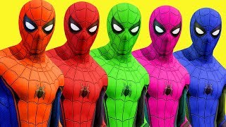 Colors for Children to Learn w Spiderman Surprise Toys Wild Animals and Cars 3D