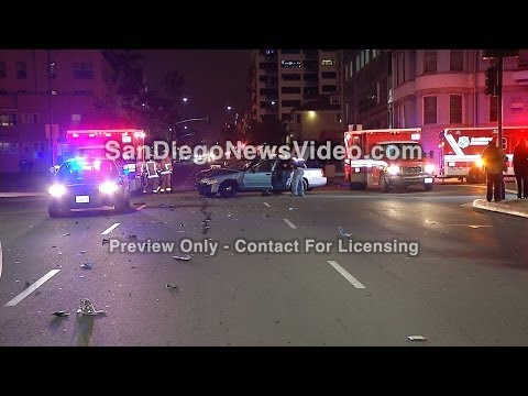 Two Prisoners, Detention Officer Injured In Red Light Crash, Downtown San Diego