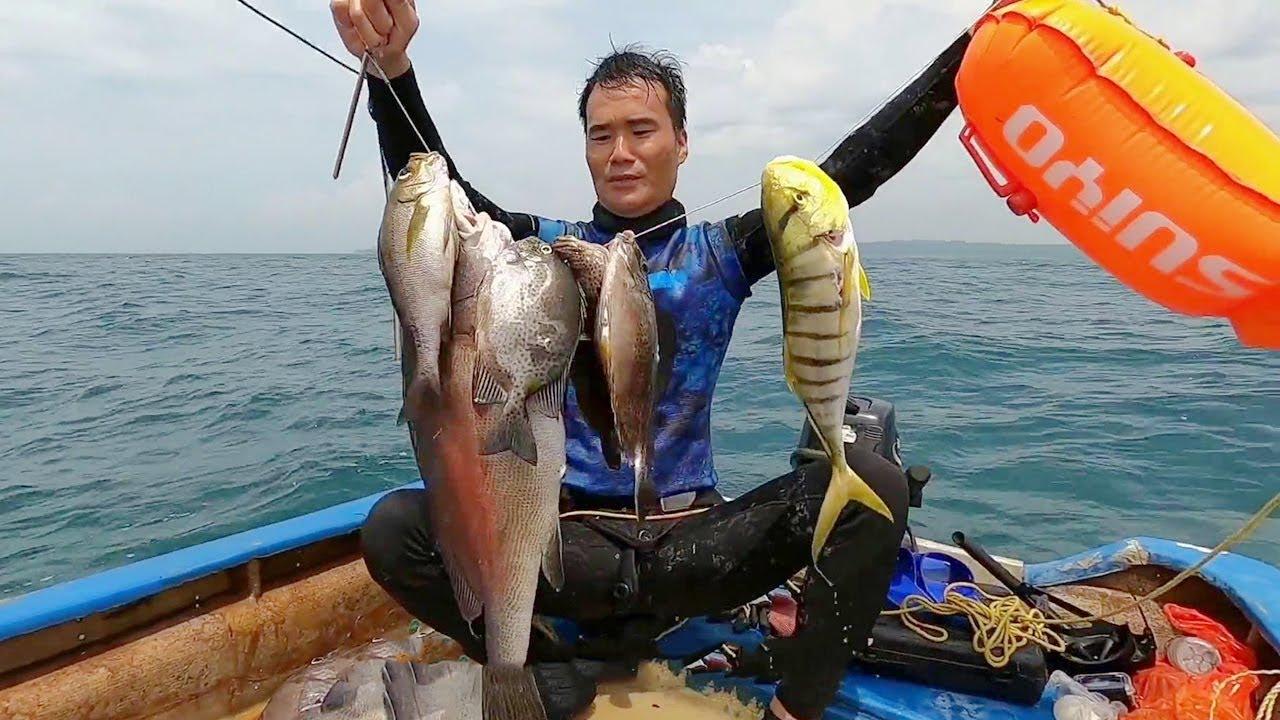阿鋒水下打魚過足癮,一箭雙雕兩條大貨,輕鬆收穫 一串魚獲【探海漁人】