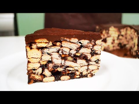 Шоколадный торт без выпечки из печенья за 15 минут   Chocolate Biscuit Cake