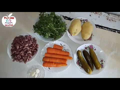 Lobya salatı .Bol proteinli tərəvəz salatı.Fasulye salatası