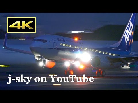[4K] Night Plane Spotting at Osaka Itami Airport in Japan - JAL, ANA / 伊丹空港 日本航空 全日空