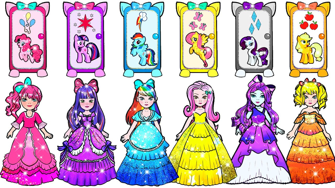 Paper Dolls Dress Up - Characters My Little Pony Handmade Dresses Quiet Book - Barbie Story & Crafts