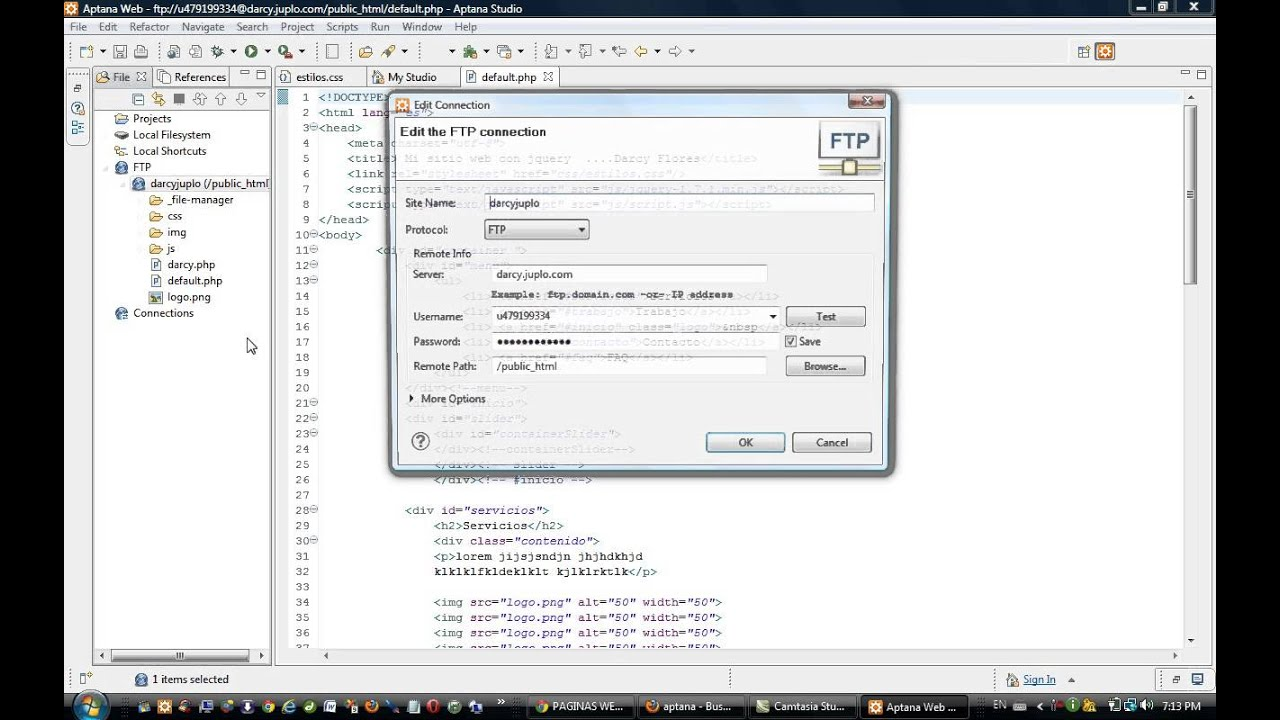 aptana studio html ftp client editor - YouTube