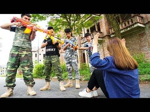Hihahe Nerf War: SWAT & Special Female Force Nerf Guns Newest CRIME Nerf War