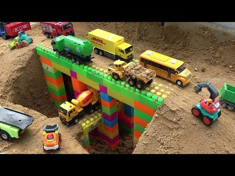 Bridge Construction Trucks for Kids - Excavator, Bulldozer, Dump Truck Toy Video for Children