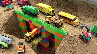 Bridge Construction Trucks For Kids   Excavator, Bulldozer, Dump Truck Toy Video For Children