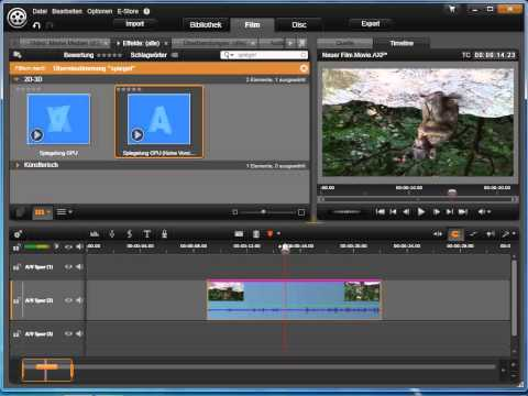 Videosequenz spiegeln in Avid studio und Pinnacle Studio