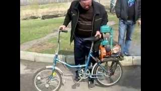 Переделка велосипеда с установкой двигателя от пилы дружба.(, 2013-05-26T14:42:56.000Z)