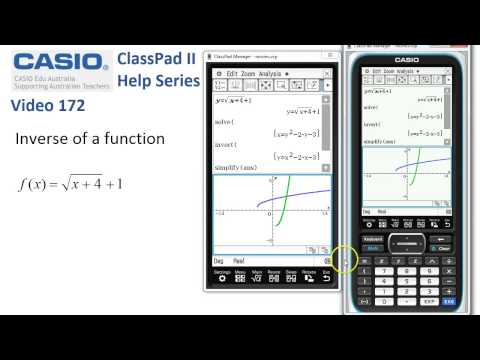 ClassPad Help 172 - Inverse Of A Function