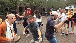 Devotees Chant Hare Krishna Before UF/FSU Game and Fans of Both Dance and Play Instruments