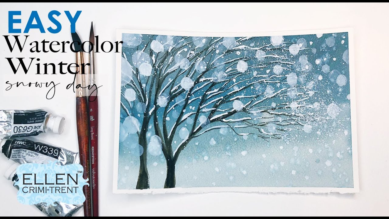Winter Watercolor Easy Tutorial