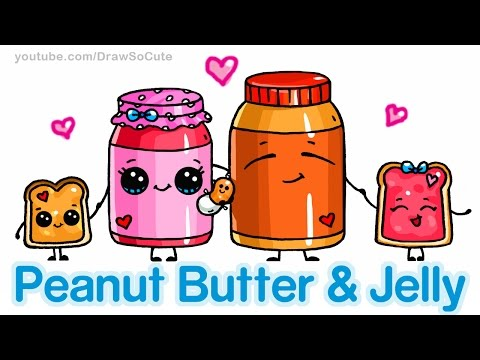 How to Draw Cute Cartoon Food - Peanut Butter and Jelly Sandwich