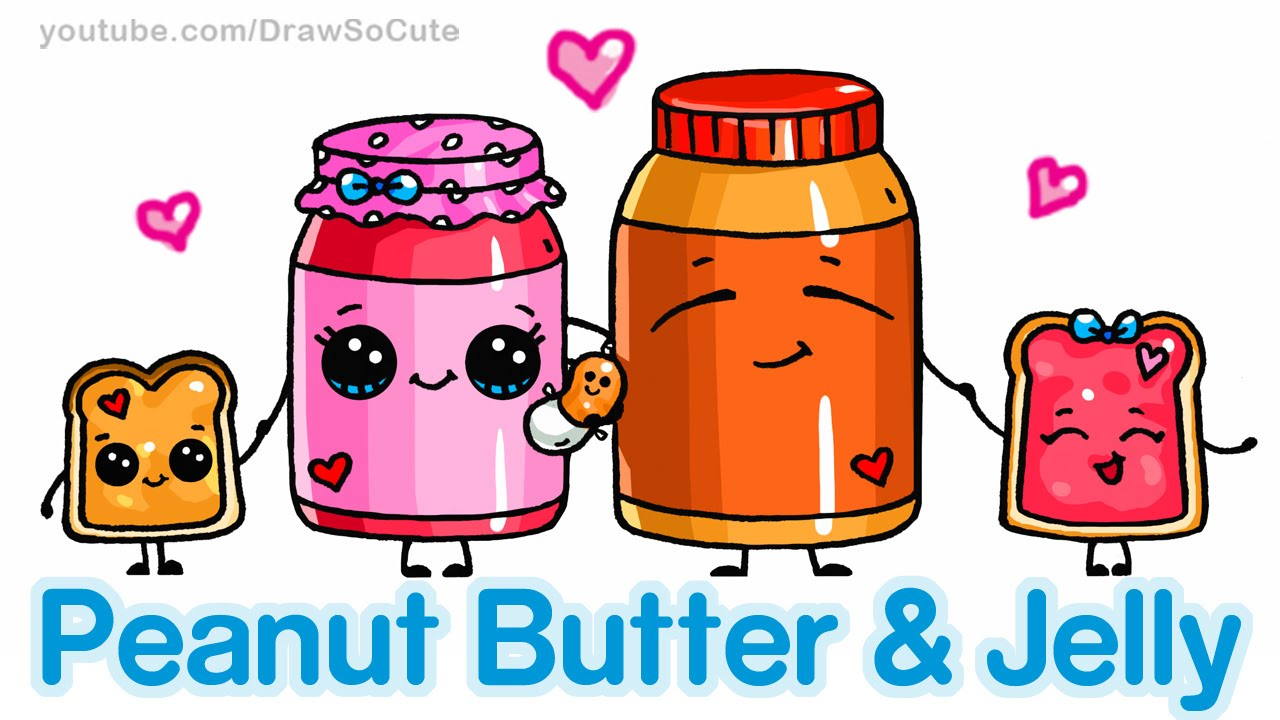 How To Draw Cute Cartoon Food Peanut Butter And Jelly Sandwich