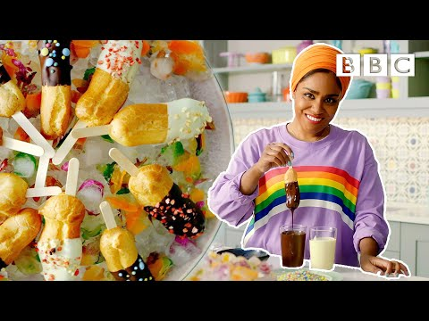 Chocolate covered raspberry eclairs pops | Nadiya's Summer Feasts - BBC