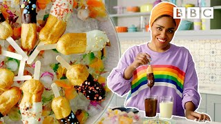 Chocolate covered raspberry eclairs pops | Nadiya's Summer Feasts - BBC