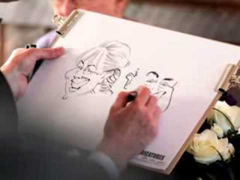Caricaturing the Bride and Groom at their wedding