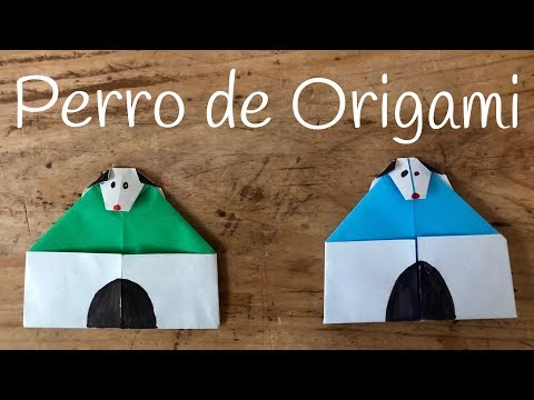 Perro de origami con caseta