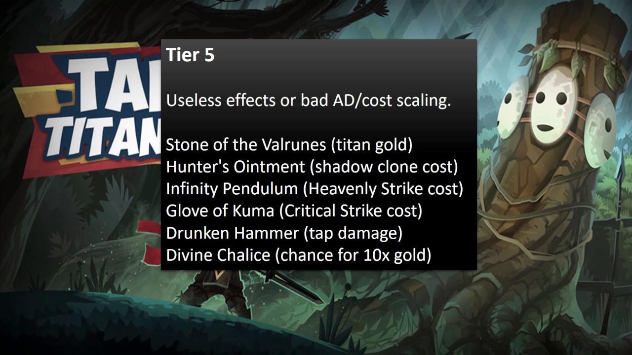 TAP TITANS 2: Artifact Tier List