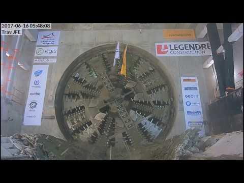 Arrivée du tunnelier à la station Jules-Ferry. Métro de Rennes.