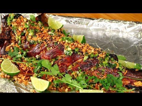 CA NUONG DA DON | Vietnamese Roasted Catfish Recipe | Cá Nướng Da Giòn