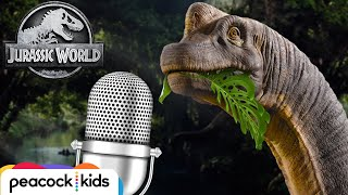 ASMR Soothing Natural Dinosaur Eating Sounds (Chewing Leaves, Slurping Water) | JURASSIC WORLD