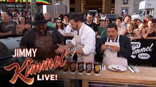 Heinz BBQ Cooking Demonstration with Robert Sierra, Jimmy Kimmel and Guillermo