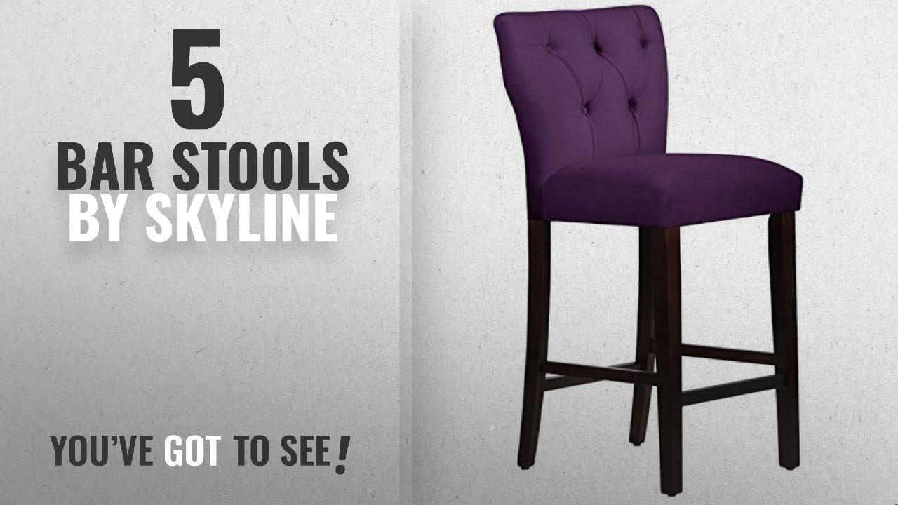 Top 10 Skyline Bar Stools 2018 Furniture 31 Tufted Stool In Velvet Aubergine