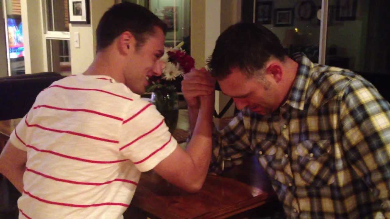 arm wrestling with my father shooting dad