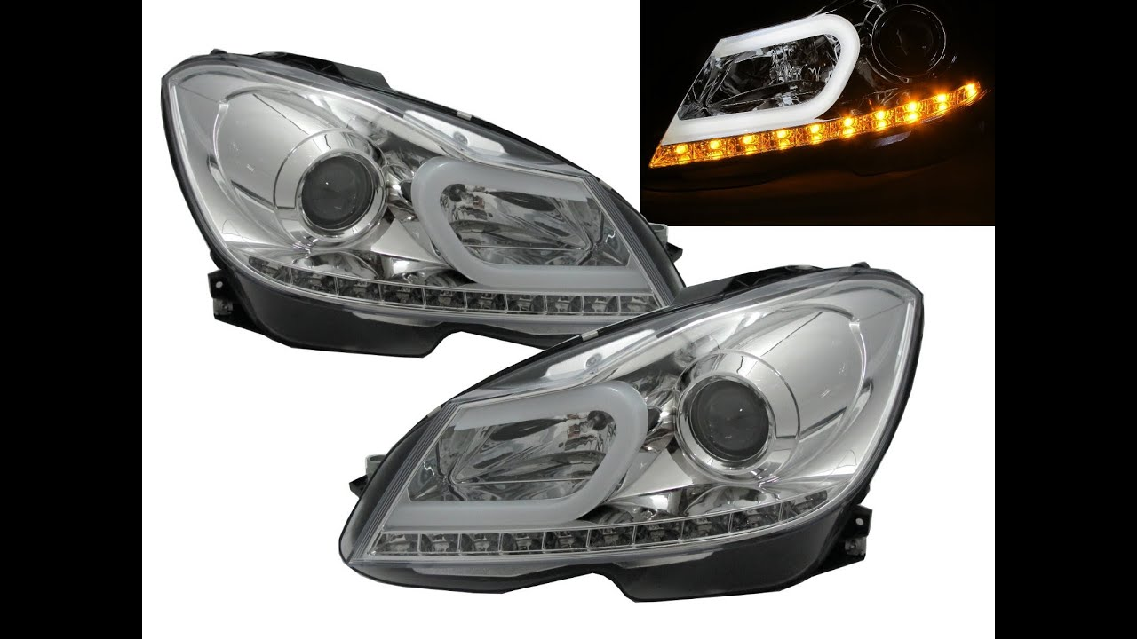 Crazythegod w204 2012 facelift ccfl projector headlight for Mercedes benz aftermarket headlights