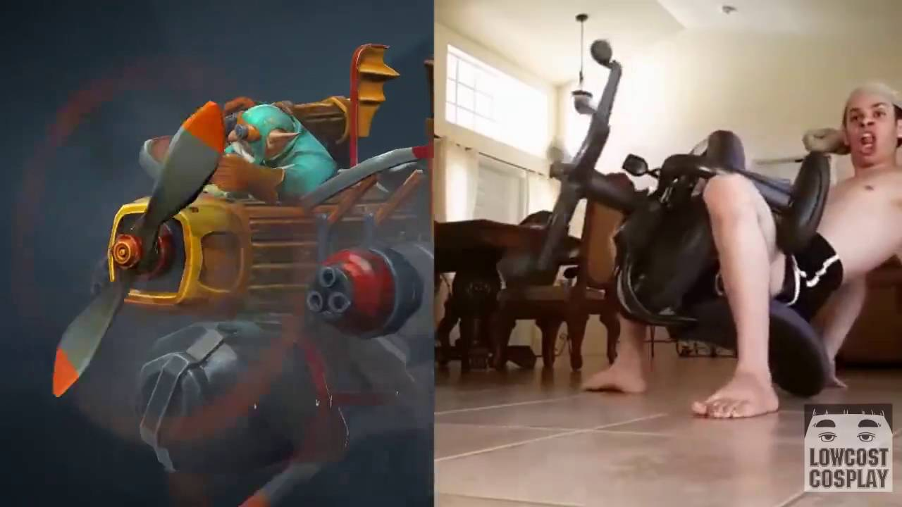 Epic Hilarious Gyrocopter Cosplay Dota 2 Youtube