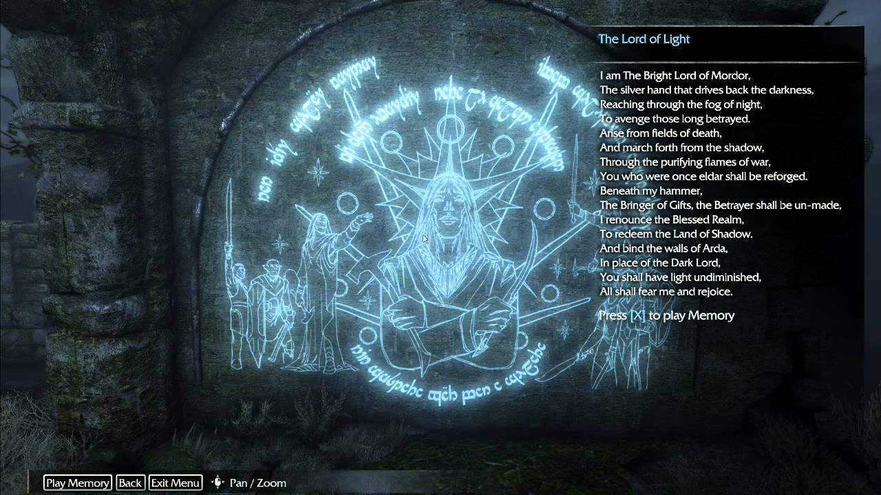 Middle Earth Shadow Of Mordor Final Ithildin Symbol Complete Wall 3232
