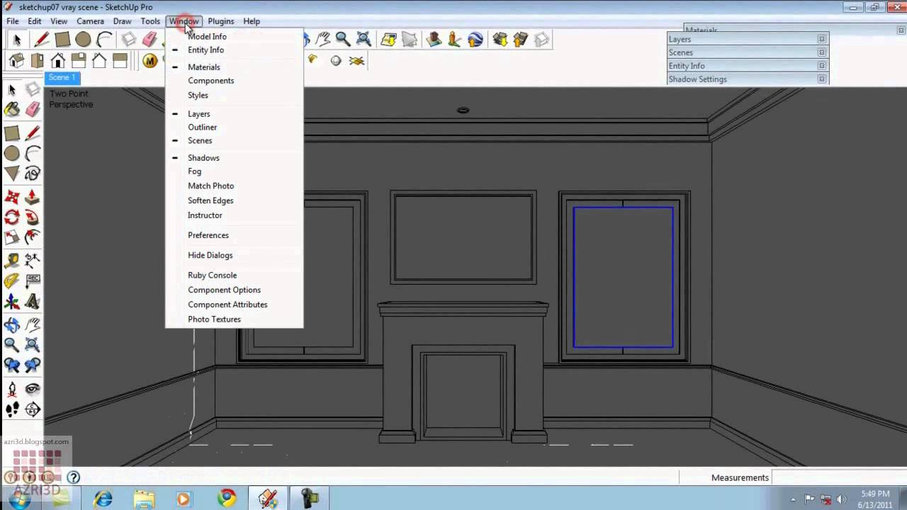 Google Sketchup Tutorial 07 Vray Light Amp Interior Settings
